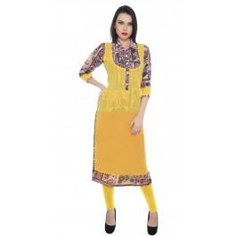 Charu Boutique Womens Yellow Georgette Digital Printed Long Kurta