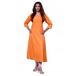 Anarkali Flared Long Kurta and Printed Legging Set - Orange