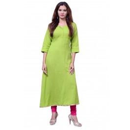Anarkali Flared Long Kurta and Printed Legging Set - Green