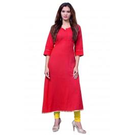 Anarkali Flared Long Kurta and Printed Legging Set - Red