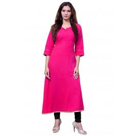 Anarkali Flared Long Kurta and Printed Legging Set - Rani Pink