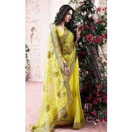 Parrot Green Tissue Silk Saree