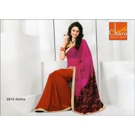 Rani Red Chiffon Saree