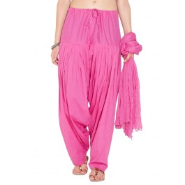 Pink Cotton Patiyala and Dupatta Set