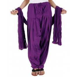 Purple Cotton Patiyala and Dupatta Set