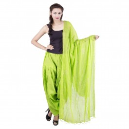 Lime Green Cotton Patiyala and Dupatta Set