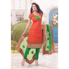 Orange Green Cotton Dress Material