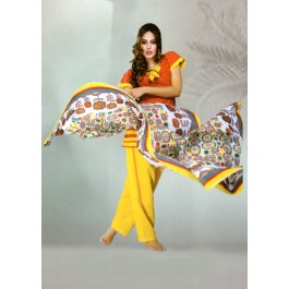 Orange Yellow Printed Cotton Dress Material