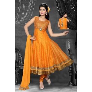 Orange Silk Anarkali Suit