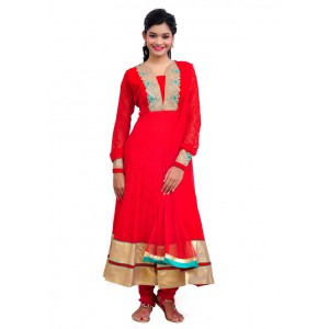 Gorgeous Red Net Anarkali Suit