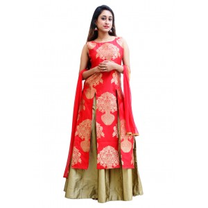 Charu Boutique Red Tafeta Silk Kurta Skirt Dupatta Lehenga Suit Set