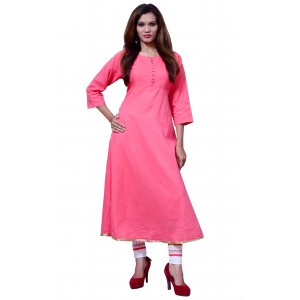Anarkali Flared Long Kurta and Printed Legging Set - Pink