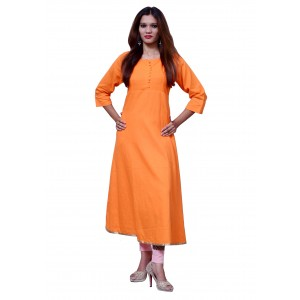 Anarkali Flared Long Kurta and Printed Legging Set - Orange