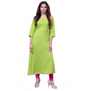Anarkali Flared Long Kurta and Printed Legging Set - Green