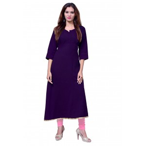 Anarkali Flared Long Kurta and Printed Legging Set - Purple