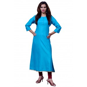 Anarkali Flared Long Kurta and Printed Legging Set - Blue