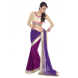 Charu Boutique Appealing Purple Half N Half Saree