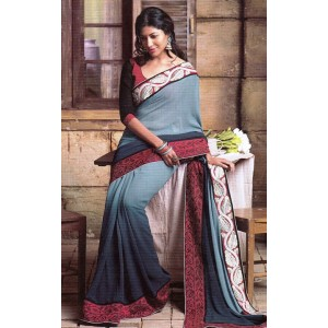 Gray Dupion Silk Saree