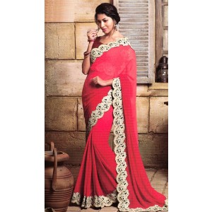 Carrot Pink Semi Chiffon Saree