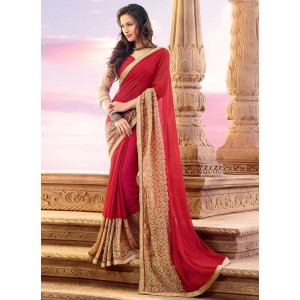 Charu Boutique Partywear Designer Red Georgette Saree with Net Border