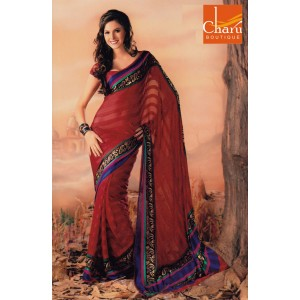 Red Chiffon Saree