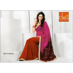 Rani Red Chiffon Saree