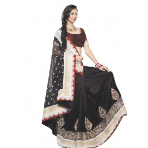Black Red Net Dupion Silk Saree