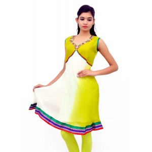 White Green Pure Georgette kurti
