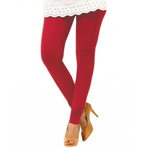 Deep Red Women's Cotton Leggings