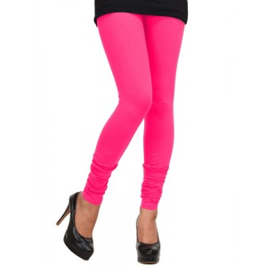 Women's Neon Pink Cotton Leggings