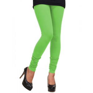 Women's  Neon Green  Cotton Leggings