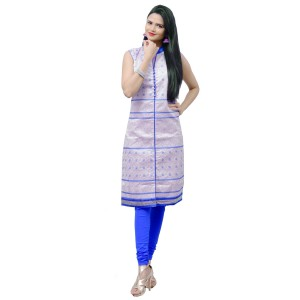 Cream & Blue Silk Embroidered Kurti
