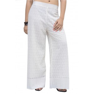 Womens Stylish Cotton Chikan Work White Palazzo Pants