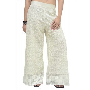 Womens Stylish Georgette Chikan Work Flared Off-White Palazzo Pants