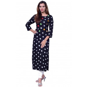 Rayon Women's Long Black Embroidered Kurti