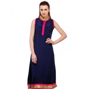Charu Boutique Royal Blue Straight Cut Satin Kurti