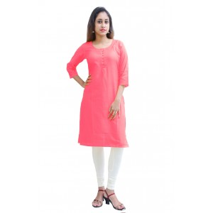 Charu Boutique CARROT PINK  Formal Solid Women's Kurta