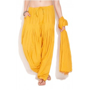 Mustard Cotton Patiyala and Dupatta Set