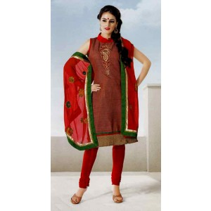 Red Embroidered Cotton Dress Material