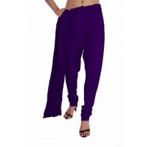 Charu Boutique Purple Solid Cotton Churidar & Chiffon Dupatta Set