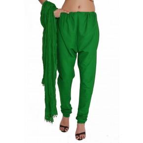 Charu Boutique Green Solid Cotton Churidar & Chiffon Dupatta Set
