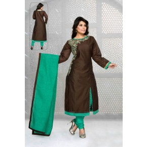 Charu Boutique Brown SIlk Embroidered Straight Cut Churidar Suit
