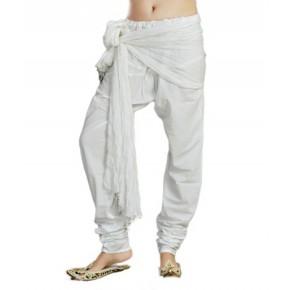 Charu Boutique White Solid Pure Cotton Churidar & Dupatta Set
