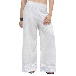 Womens Stylish Cotton Chikan Work White Palazzo Pants