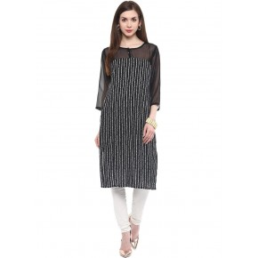 Charu Boutique Black Straight Cut Printed women's Cotton Kurti