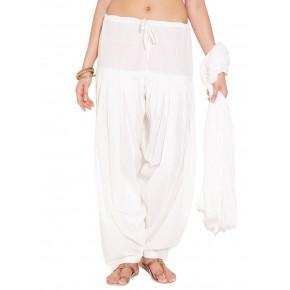 White Cotton Patiyala and Dupatta Set