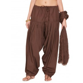 Brown Cotton Patiyala and Dupatta Set