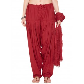 Deep Red Cotton Patiyala and Dupatta Set