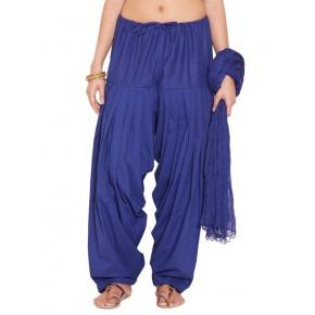 Blue Cotton Patiyala and Dupatta Set
