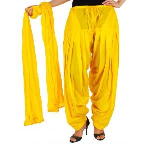 Sunflower Yellow Cotton Patiyala and Dupatta Set